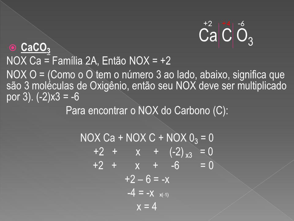 Para encontrar o NOX do Carbono (C):