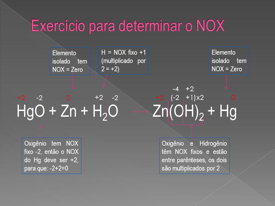 Exercício para determinar o NOX