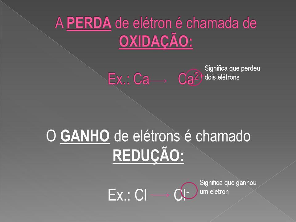 A PERDA de elétron é chamada de OXIDAÇÃO: Ex.: Ca Ca2+
