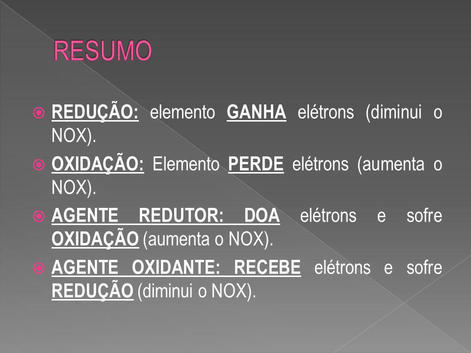 RESUMO REDUÇÃO: elemento GANHA elétrons (diminui o NOX).