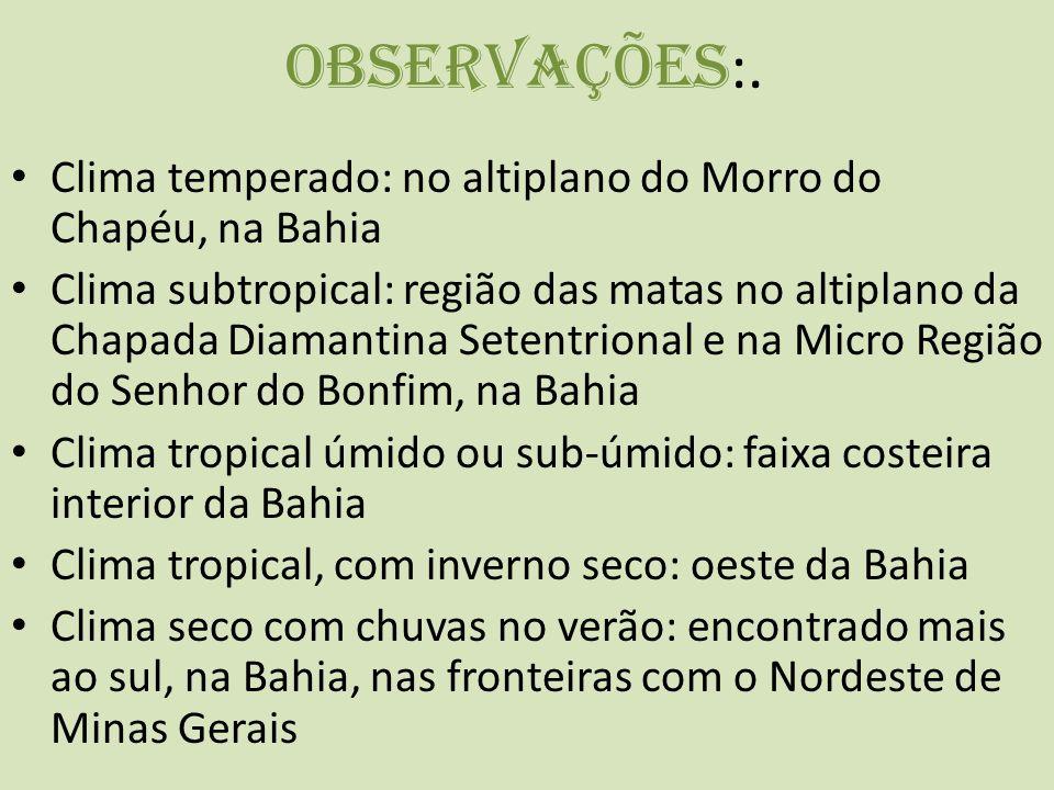Observações:. Clima temperado: no altiplano do Morro do Chapéu, na Bahia.