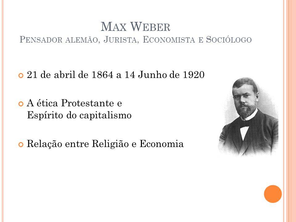 Max Weber Pensador alemão, Jurista, Economista e Sociólogo