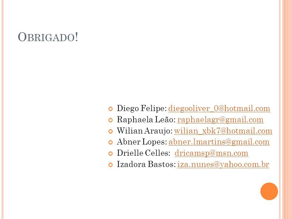 Obrigado! Diego Felipe: diegooliver_0@hotmail.com