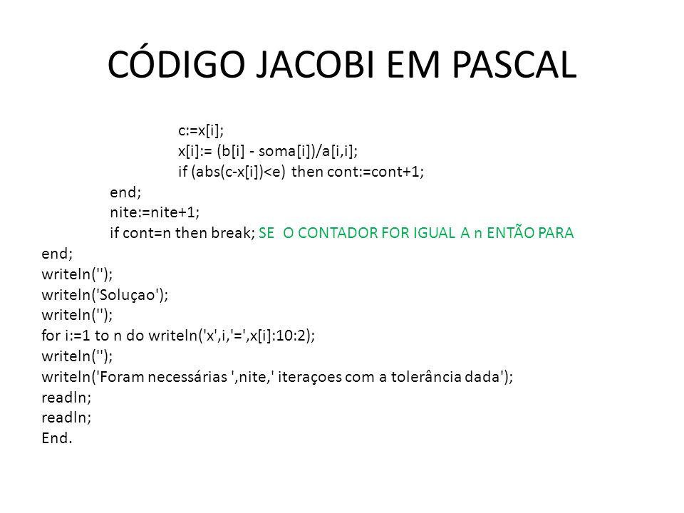 CÓDIGO JACOBI EM PASCAL