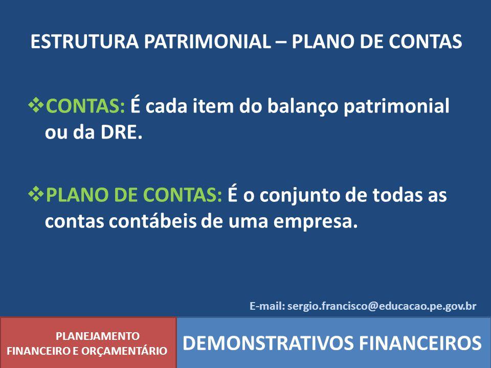 ESTRUTURA PATRIMONIAL – PLANO DE CONTAS