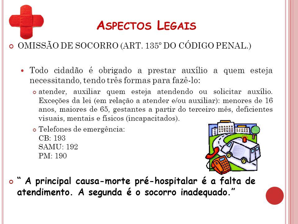 Aspectos Legais OMISSÃO DE SOCORRO (ART. 135º DO CÓDIGO PENAL.)