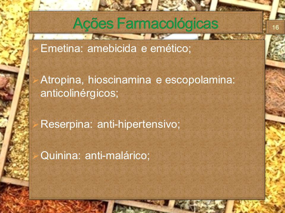 Ações Farmacológicas Emetina: amebicida e emético;