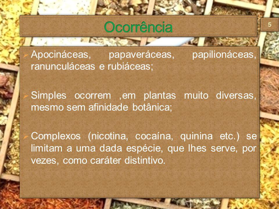 Ocorrência Apocináceas, papaveráceas, papilionáceas, ranunculáceas e rubiáceas;