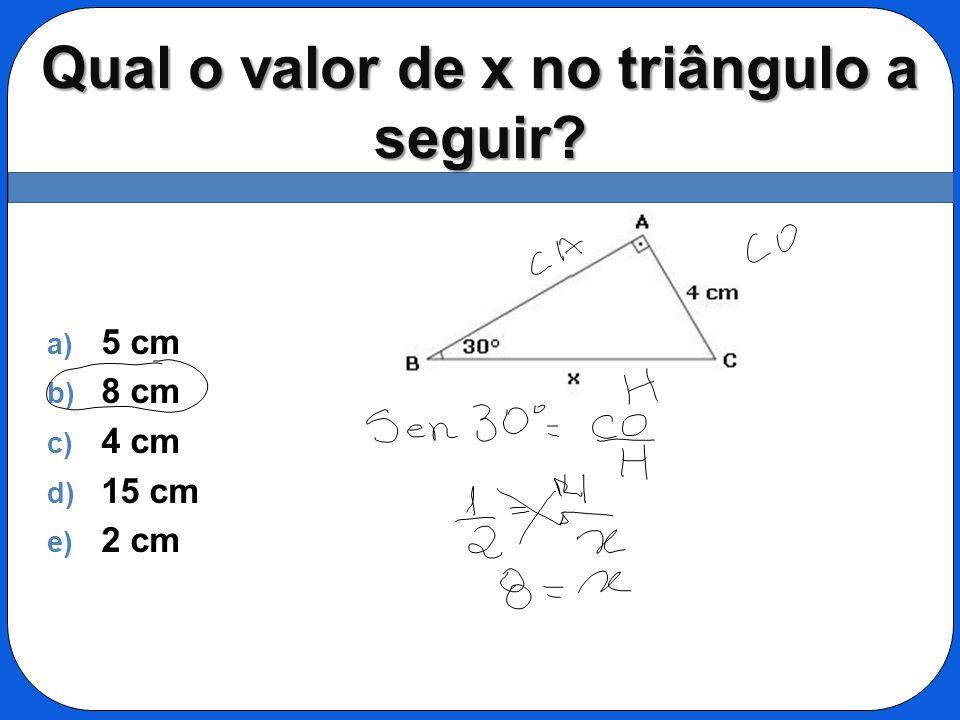 Qual o valor de x no triângulo a seguir
