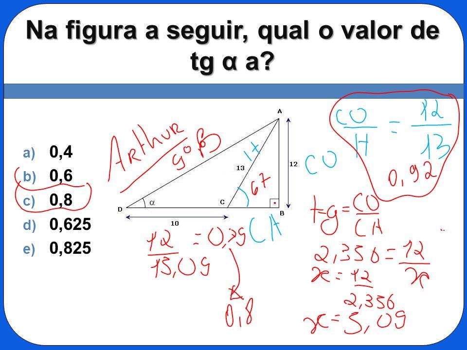 Na figura a seguir, qual o valor de tg α a