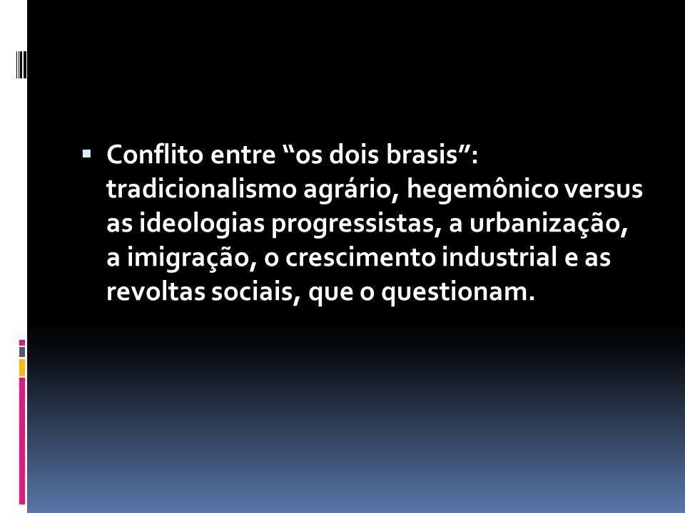 Conflito entre os dois brasis : tradicionalismo agrário, hegemônico versus as ideologias progressistas, a urbanização, a imigração, o crescimento industrial e as revoltas sociais, que o questionam.