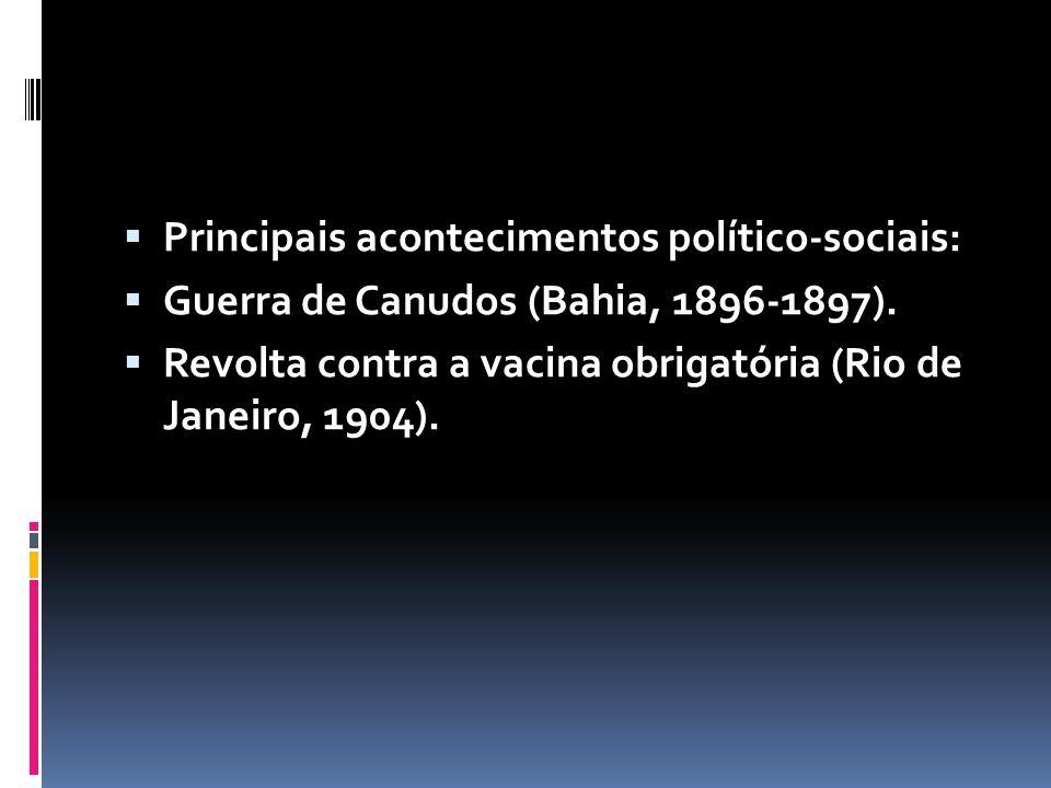 Principais acontecimentos político-sociais: