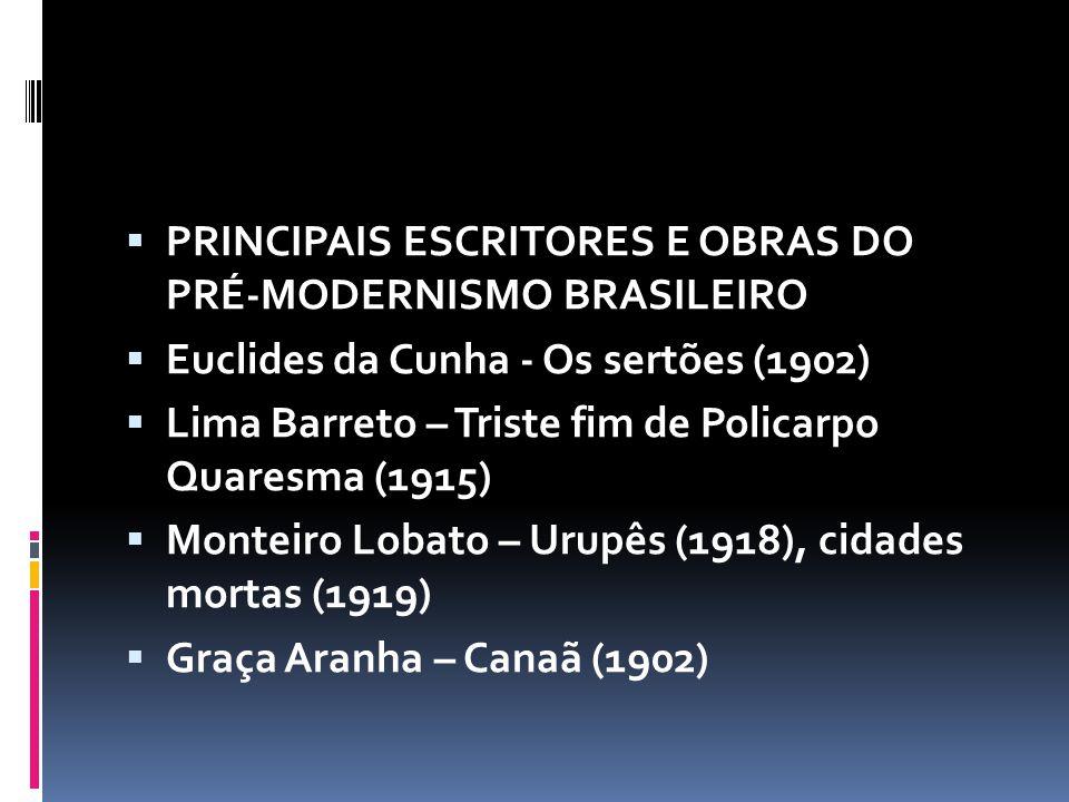 PRINCIPAIS ESCRITORES E OBRAS DO PRÉ-MODERNISMO BRASILEIRO