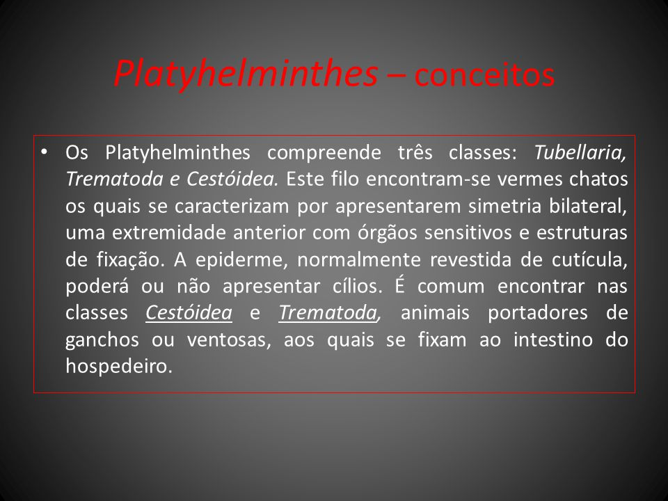 Platyhelminthes – conceitos