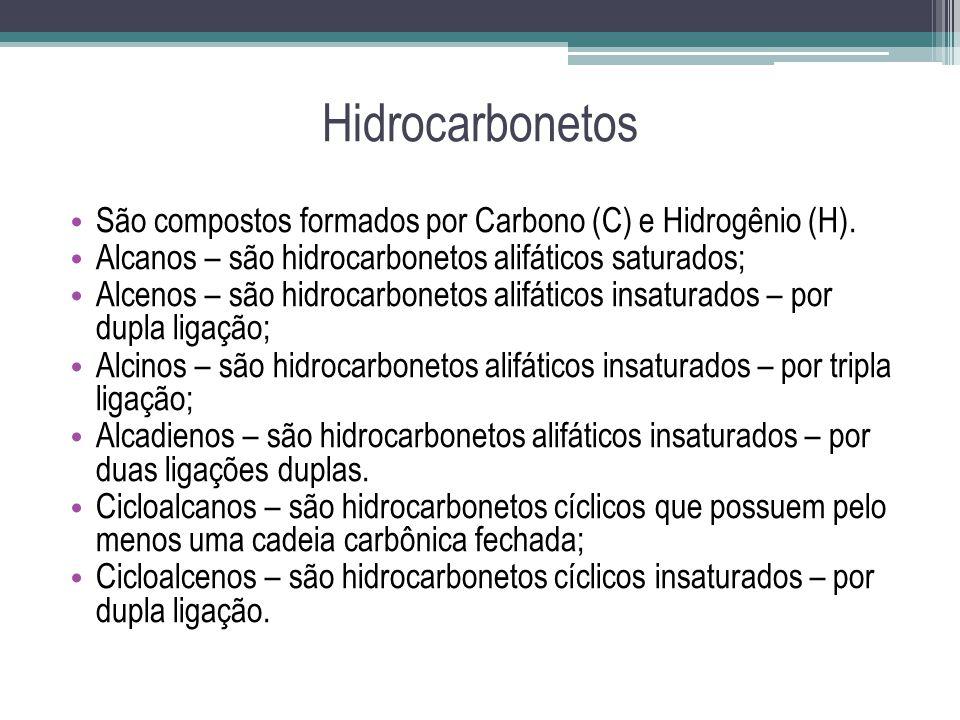 Hidrocarbonetos São compostos formados por Carbono (C) e Hidrogênio (H). Alcanos – são hidrocarbonetos alifáticos saturados;