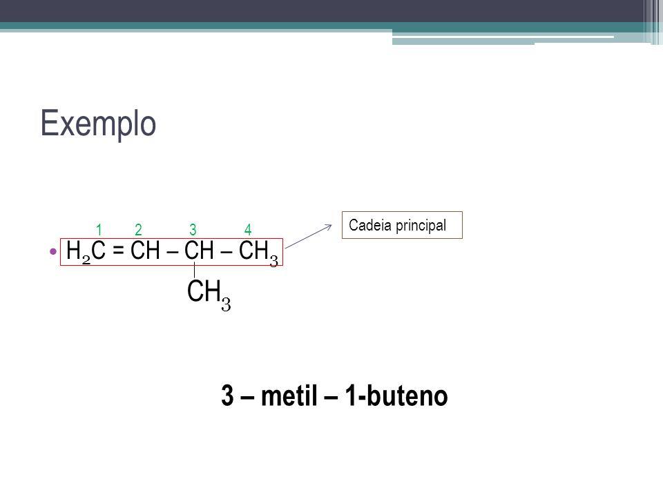 Exemplo CH3 3 – metil – 1-buteno H2C = CH – CH – CH3 Cadeia principal