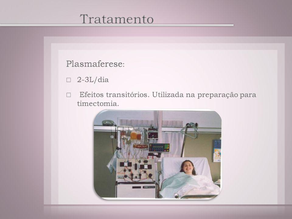 Tratamento Plasmaferese: 2-3L/dia