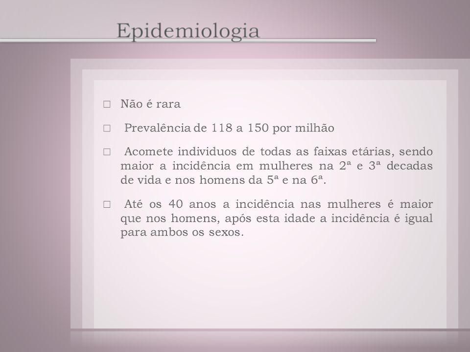 Epidemiologia Não é rara Prevalência de 118 a 150 por milhão