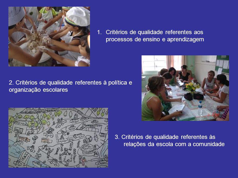 Critérios de qualidade referentes aos processos de ensino e aprendizagem