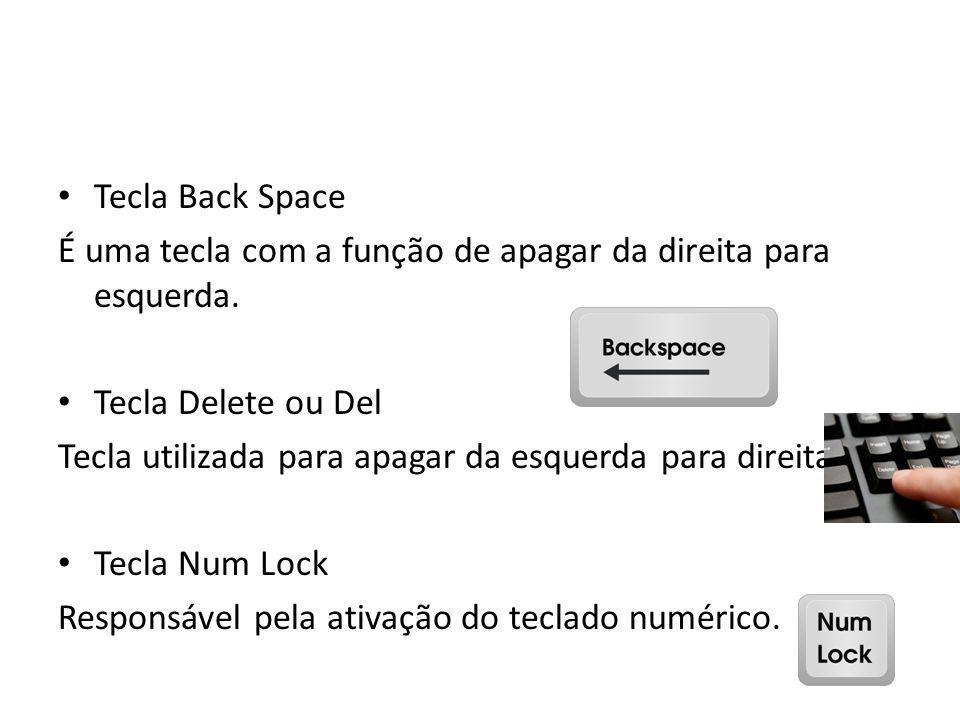 Tecla Back Space É uma tecla com a função de apagar da direita para esquerda. Tecla Delete ou Del.