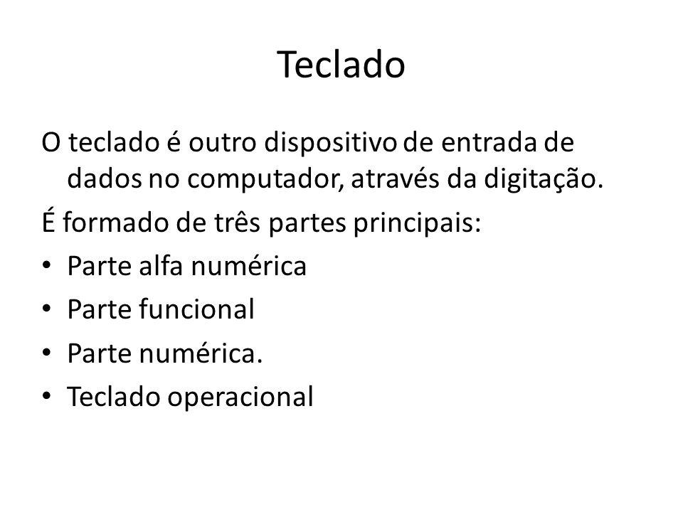 Teclado O teclado é outro dispositivo de entrada de dados no computador, através da digitação. É formado de três partes principais: