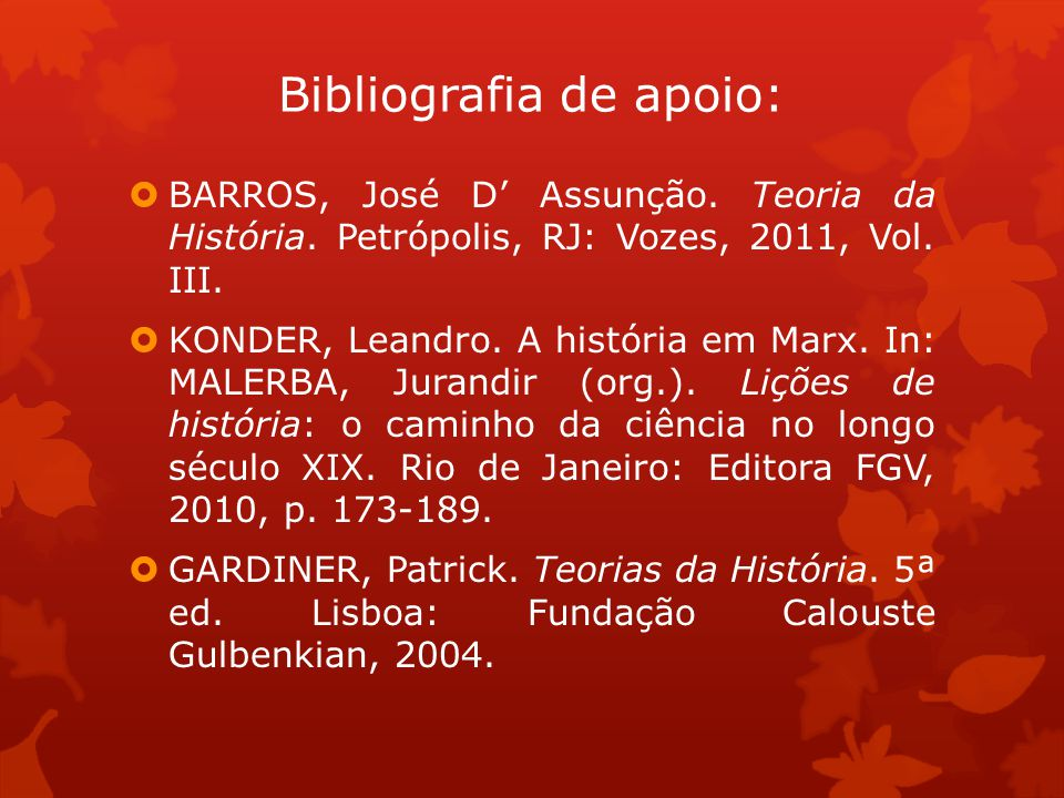 Bibliografia de apoio: