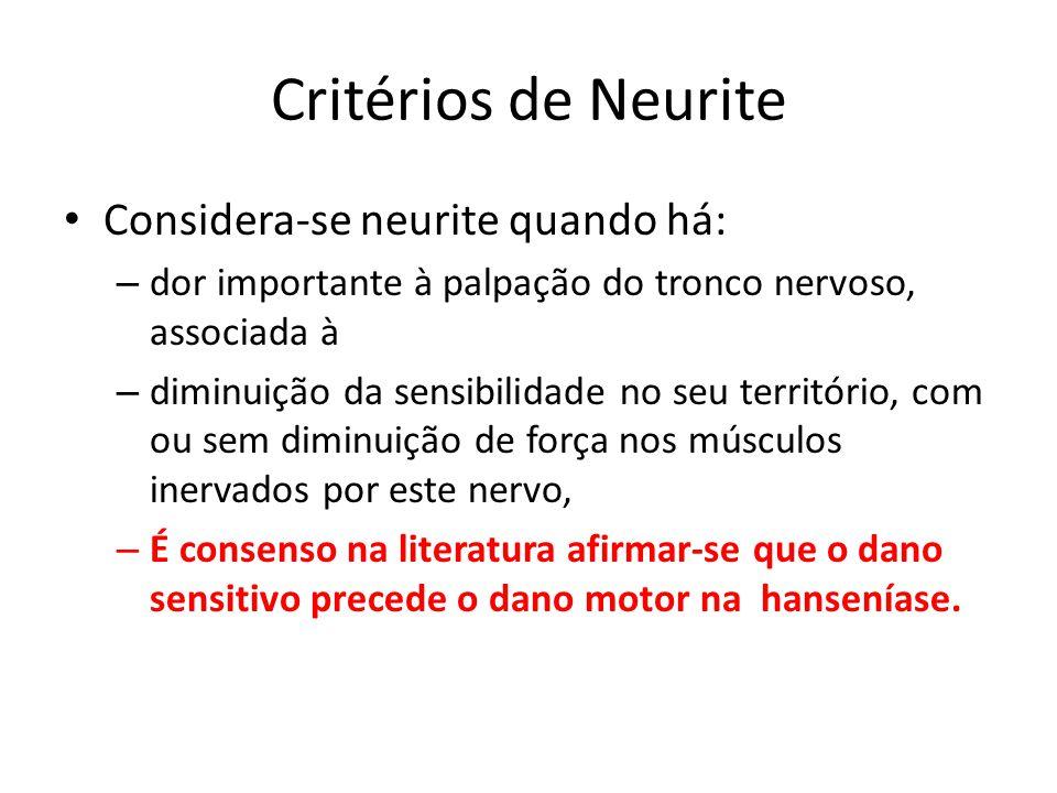 Critérios de Neurite Considera-se neurite quando há: