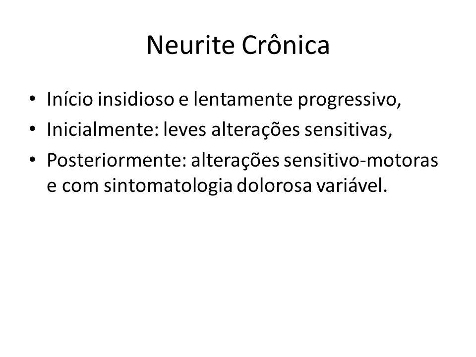Neurite Crônica Início insidioso e lentamente progressivo,