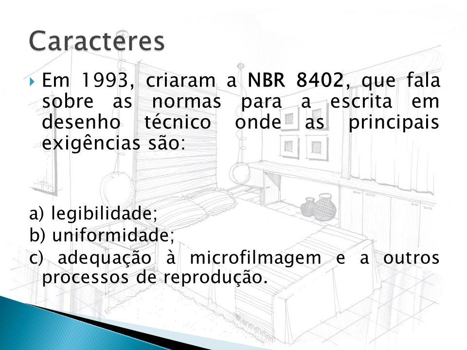 Caracteres Em 1993, criaram a NBR 8402, que fala sobre as normas para a escrita em desenho técnico onde as principais exigências são: