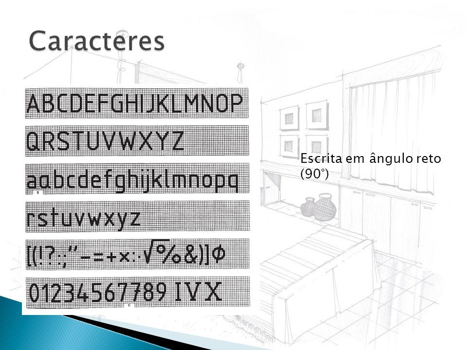 Caracteres Escrita em ângulo reto (90°)