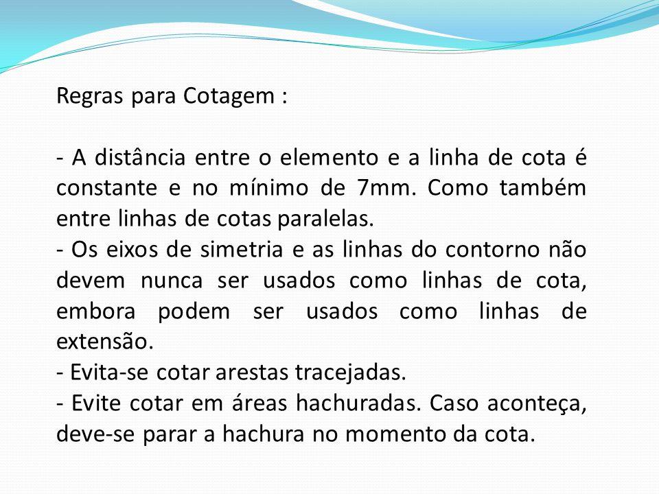 Regras para Cotagem : - A distância entre o elemento e a linha de cota é constante e no mínimo de 7mm. Como também entre linhas de cotas paralelas.