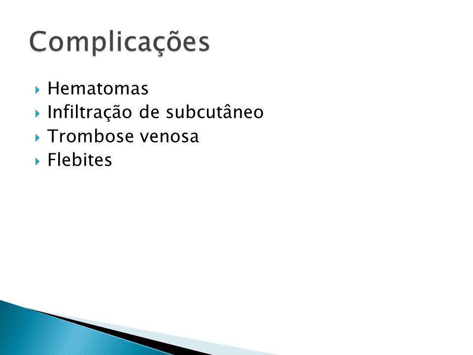 Complicações Hematomas Infiltração de subcutâneo Trombose venosa
