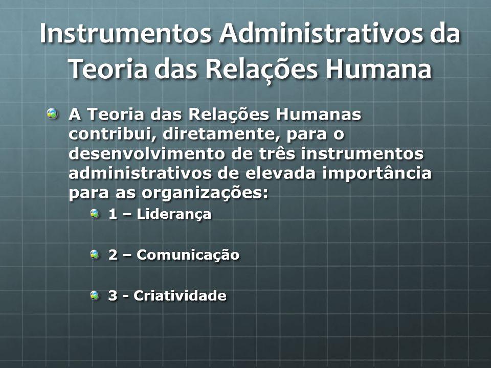 Instrumentos Administrativos da Teoria das Relações Humana
