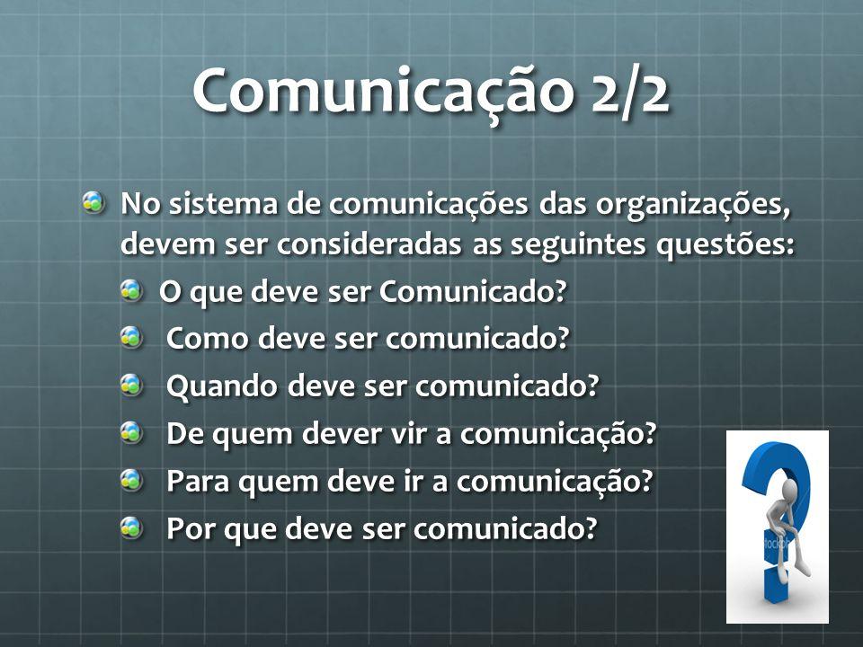 Comunicação 2/2 No sistema de comunicações das organizações, devem ser consideradas as seguintes questões: