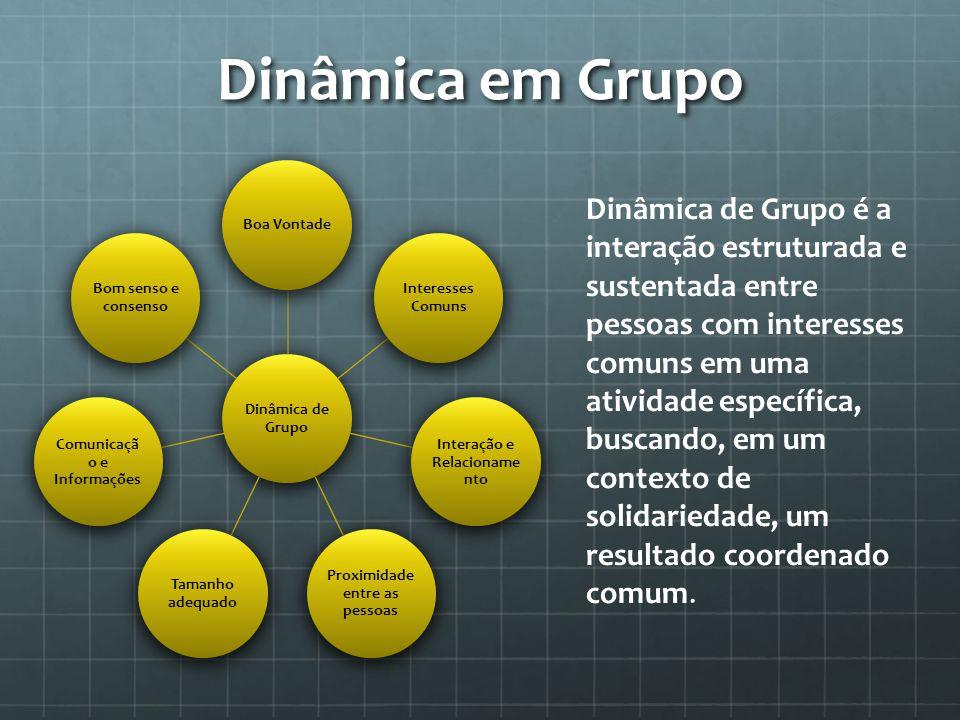 Dinâmica em Grupo Dinâmica de Grupo. Boa Vontade. Interesses Comuns. Interação e Relacionamento.