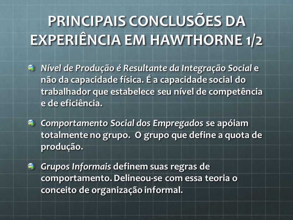 Principais Conclusões da Experiência em Hawthorne 1/2