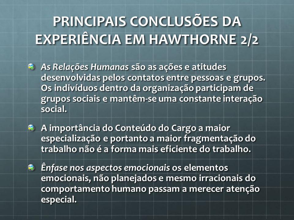 Principais Conclusões da Experiência em Hawthorne 2/2