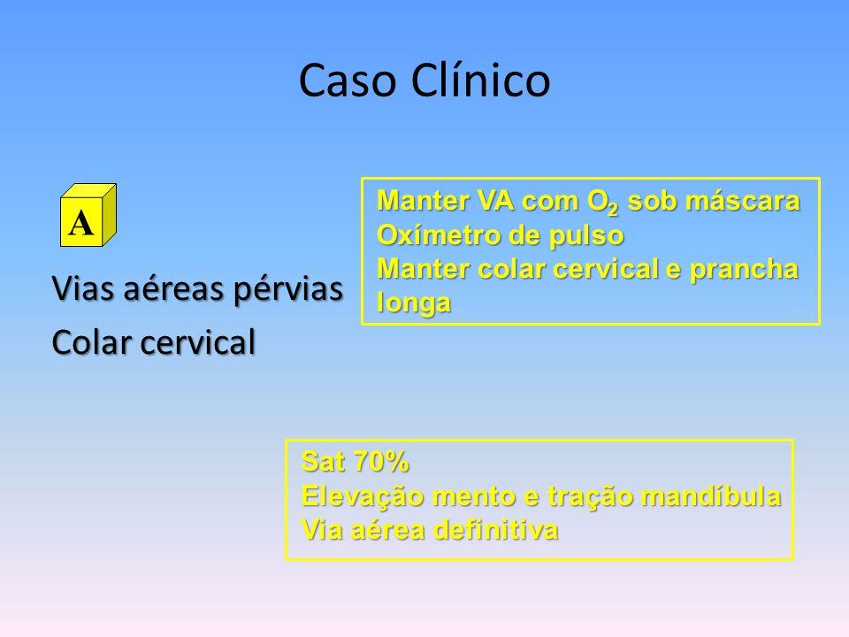 Caso Clínico A Vias aéreas pérvias Colar cervical