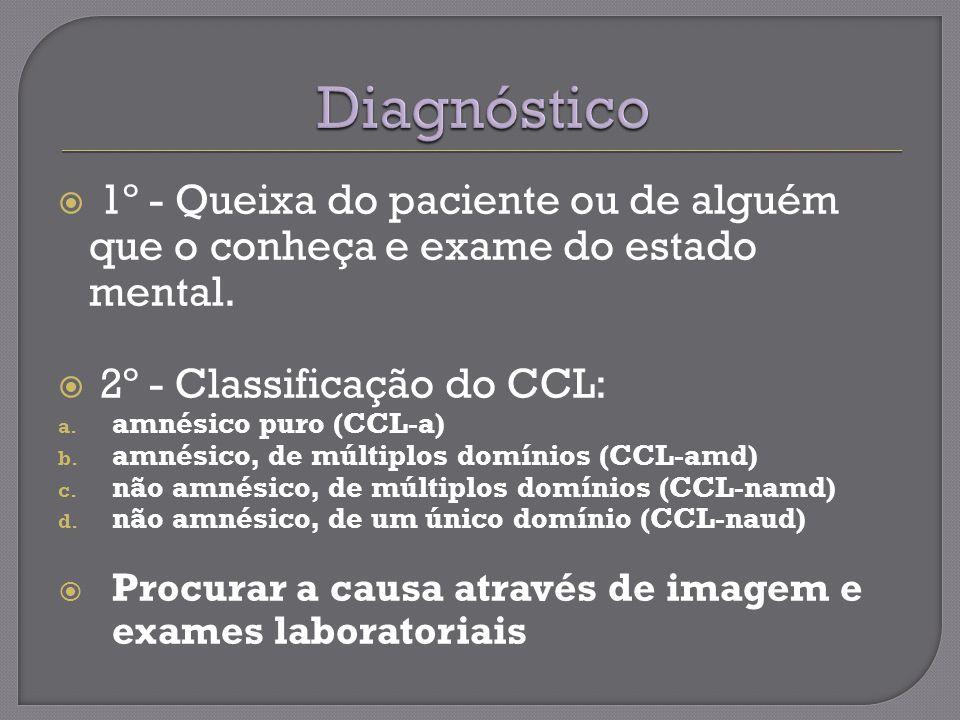 Diagnóstico 1º - Queixa do paciente ou de alguém que o conheça e exame do estado mental. 2º - Classificação do CCL: