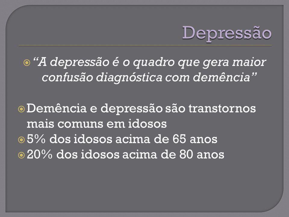 Depressão A depressão é o quadro que gera maior confusão diagnóstica com demência Demência e depressão são transtornos mais comuns em idosos.