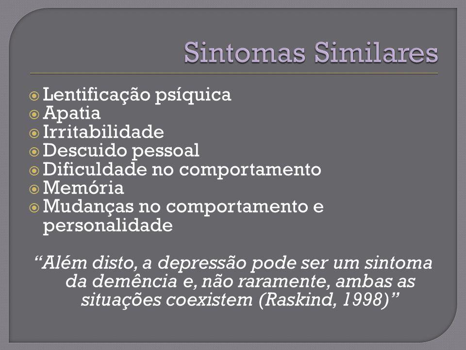 Sintomas Similares Lentificação psíquica Apatia Irritabilidade