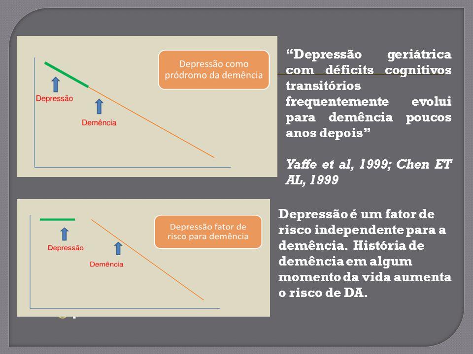 Depressão geriátrica com déficits cognitivos transitórios frequentemente evolui para demência poucos anos depois