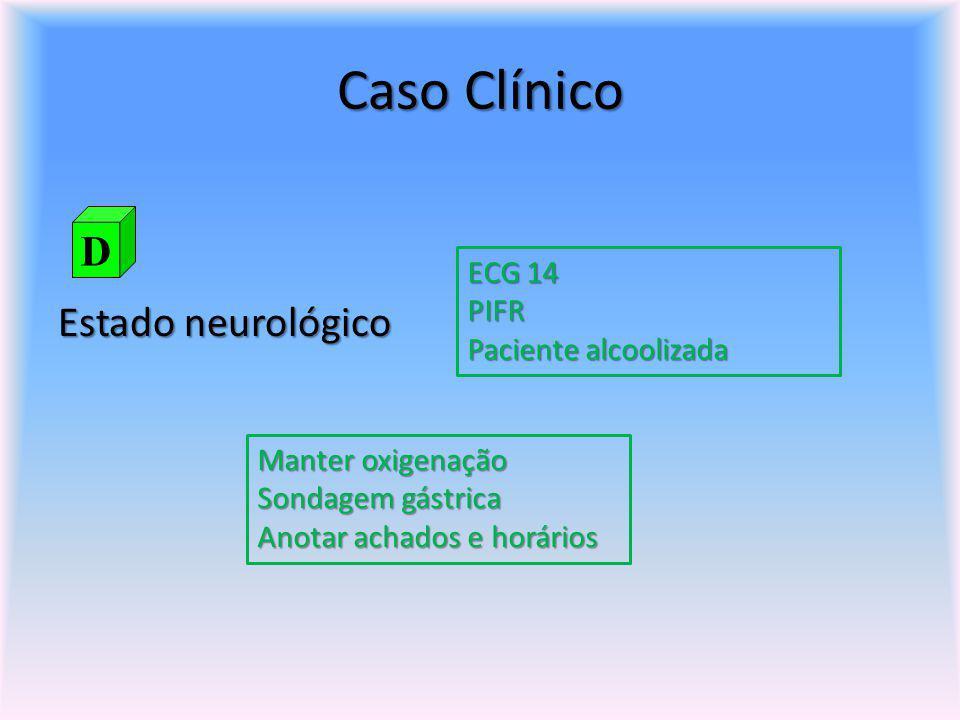 Caso Clínico D Estado neurológico ECG 14 PIFR Paciente alcoolizada