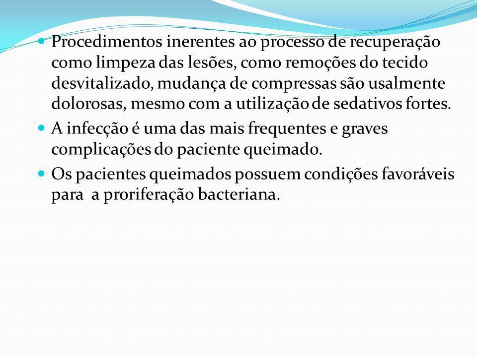 Procedimentos inerentes ao processo de recuperação como limpeza das lesões, como remoções do tecido desvitalizado, mudança de compressas são usalmente dolorosas, mesmo com a utilização de sedativos fortes.