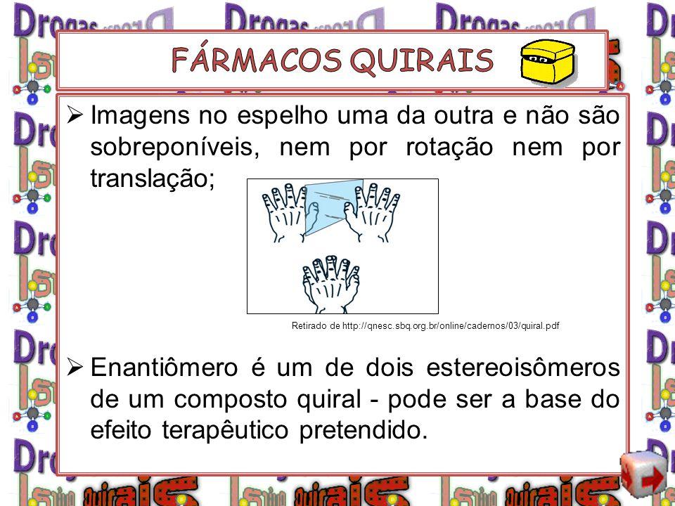 FÁRMACOS QUIRAIS Imagens no espelho uma da outra e não são sobreponíveis, nem por rotação nem por translação;