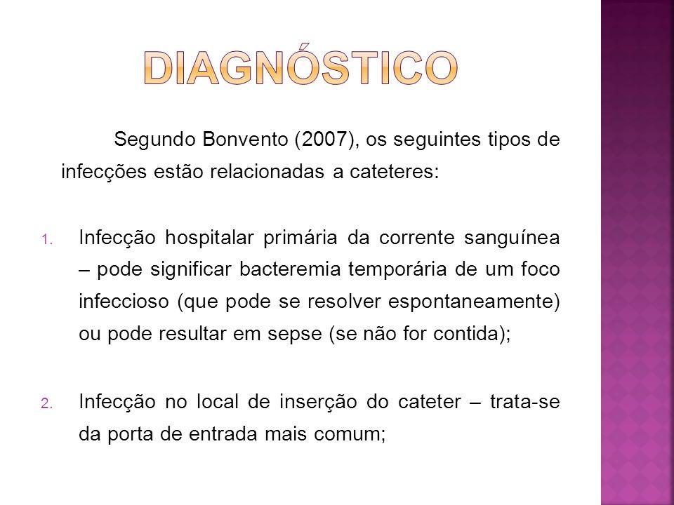 DIAGNÓSTICO Segundo Bonvento (2007), os seguintes tipos de infecções estão relacionadas a cateteres: