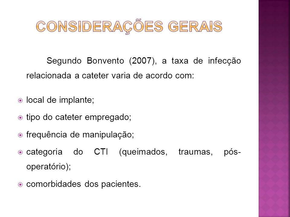 CONSIDERAÇÕES GERAIS Segundo Bonvento (2007), a taxa de infecção relacionada a cateter varia de acordo com: