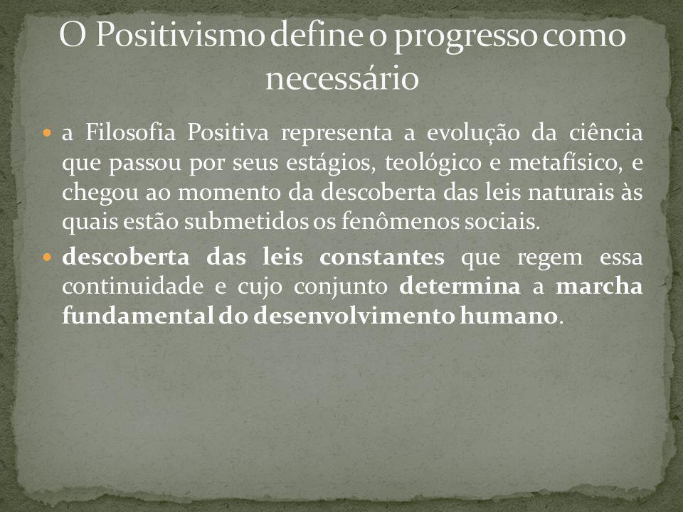 O Positivismo define o progresso como necessário