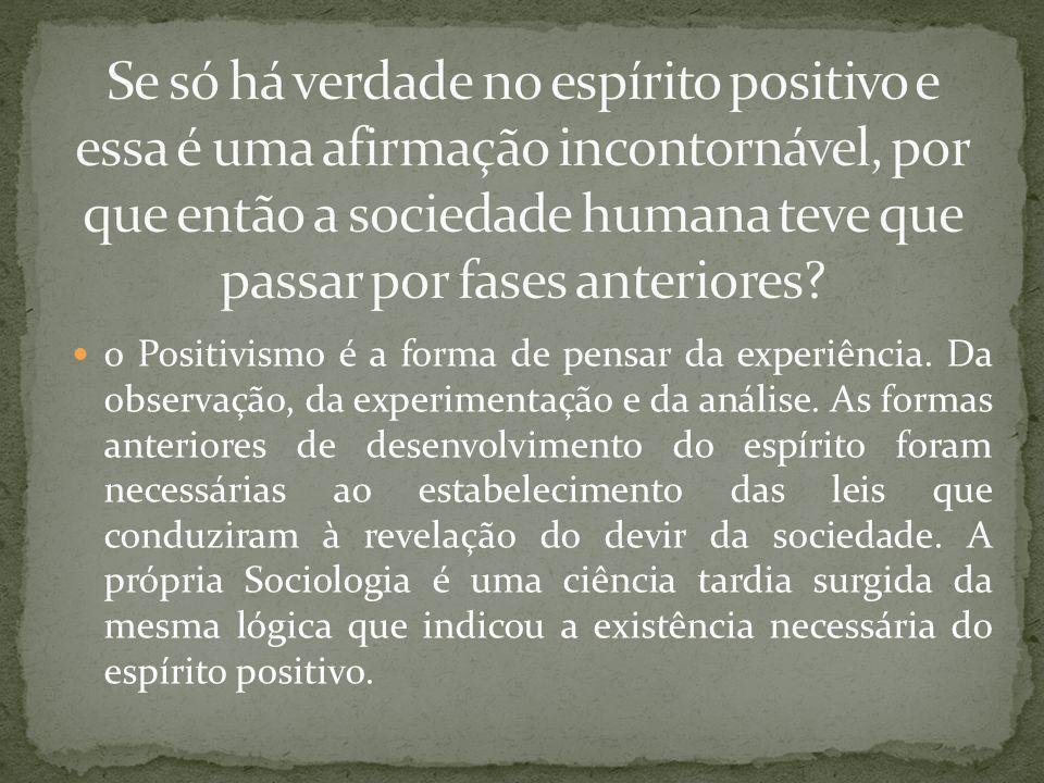 Se só há verdade no espírito positivo e essa é uma afirmação incontornável, por que então a sociedade humana teve que passar por fases anteriores