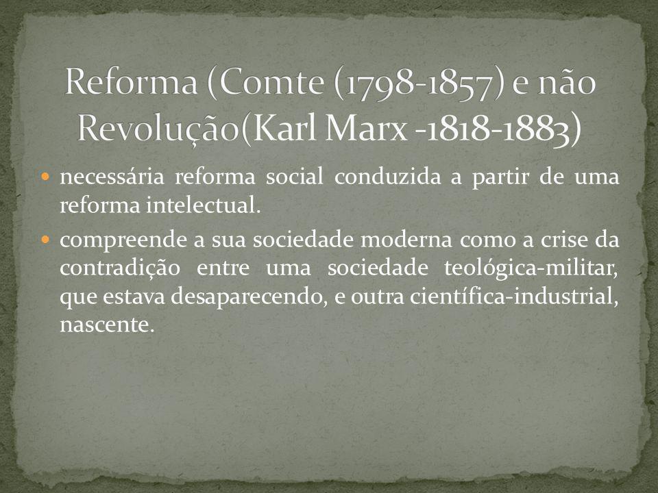 Reforma (Comte (1798-1857) e não Revolução(Karl Marx -1818-1883)